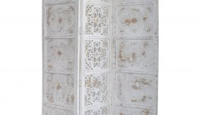 Dahlia 3 Panel Wood Screen, Antique White
