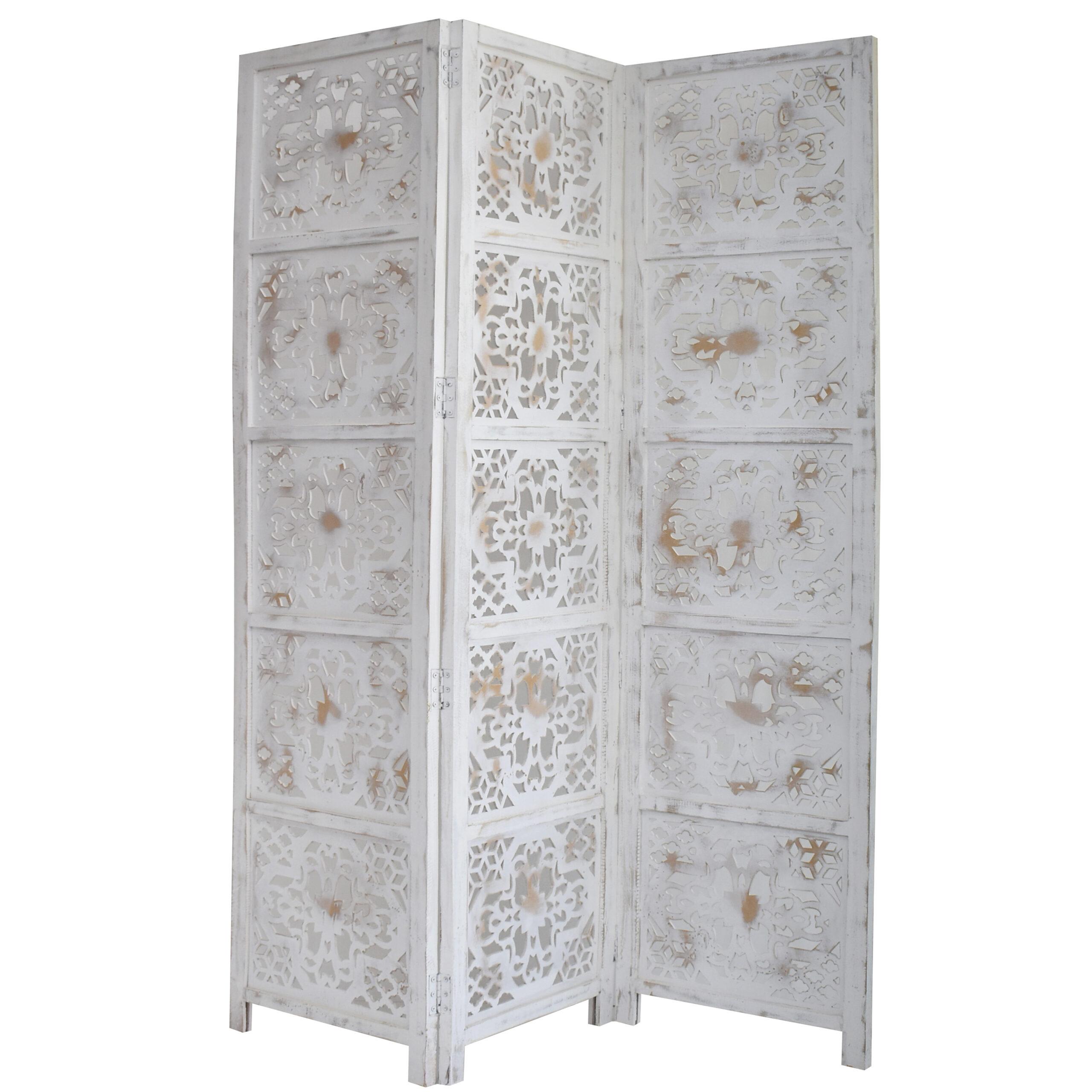 Dahlia 3 Panel Wood Screen, Antique White
