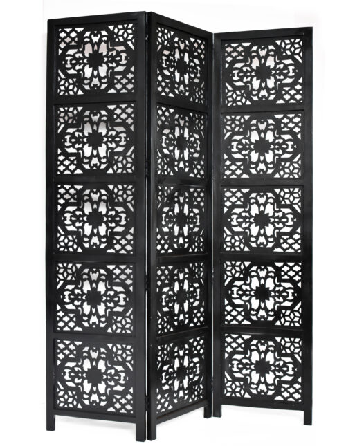 Dahlia 3 Panel Wood Screen, Black