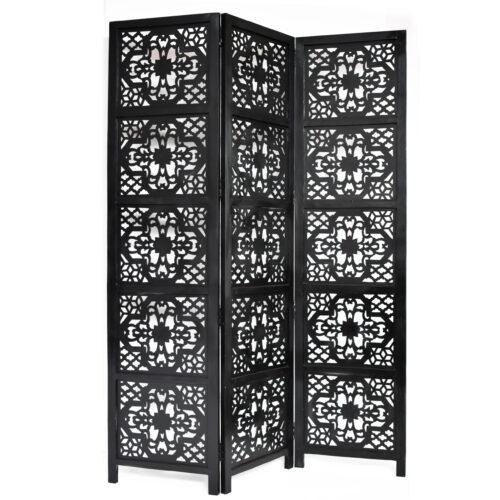 Dahlia 3 Panel Wood Screen, Black
