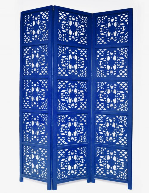 Dahlia 3 Panel Wood Screen, Blue