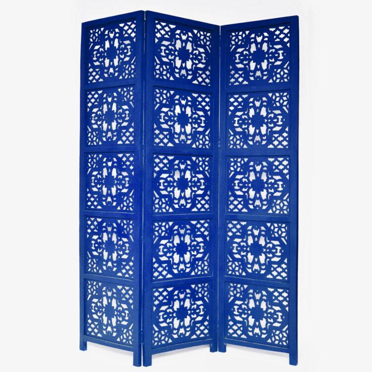 Dahlia 3 Panel Wood Screen, Blue