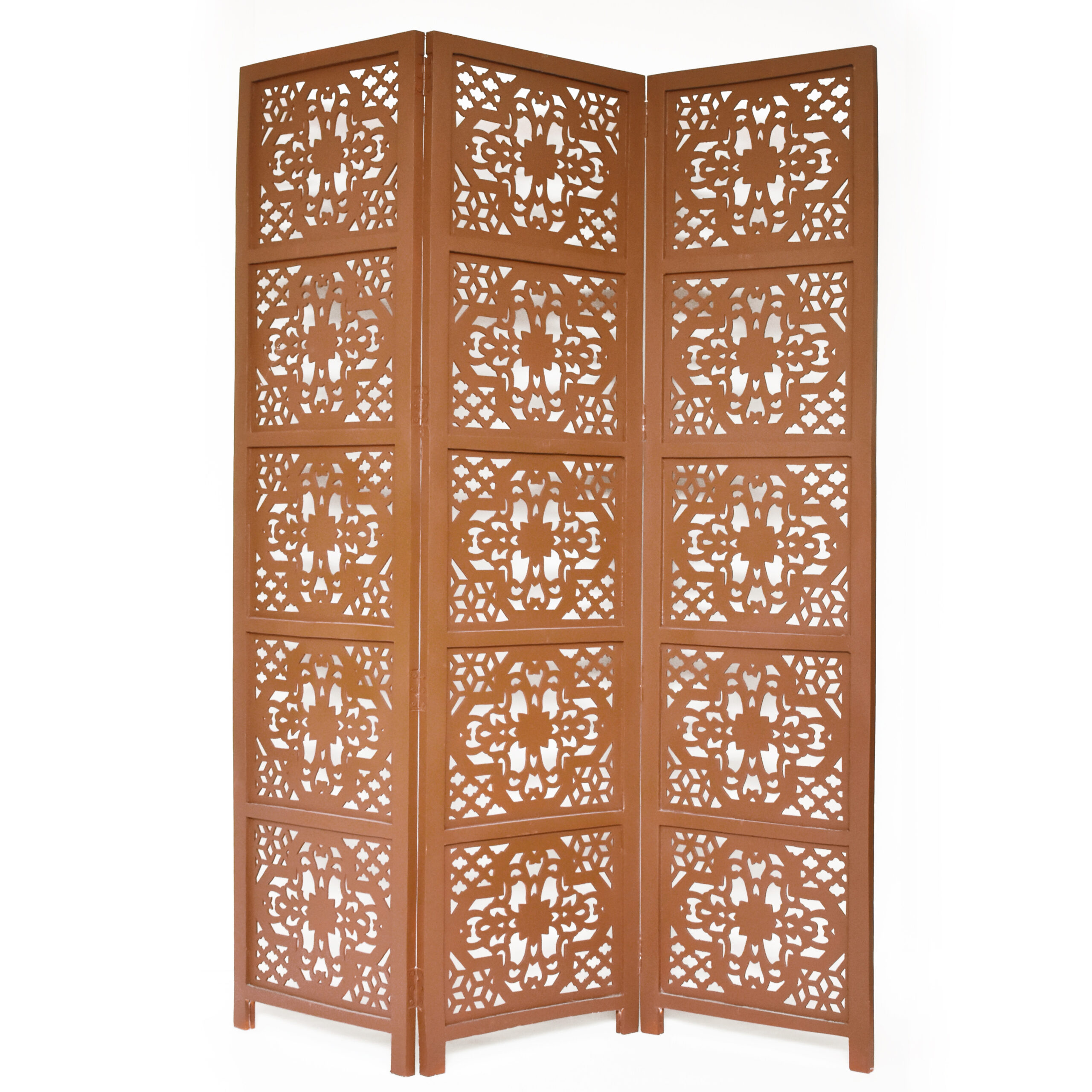 Dahlia 3 Panel Wood Screen, Brown