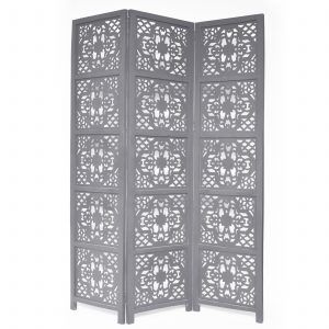Dahlia 3 Panel Wood Screen, Grey
