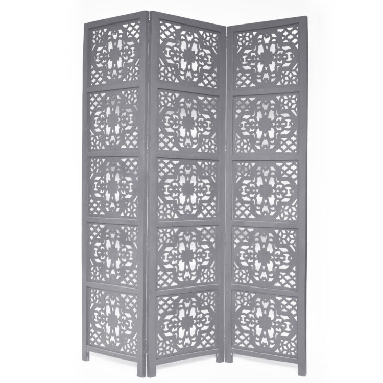 Dahlia 3 Panel Wood Screen, Grey