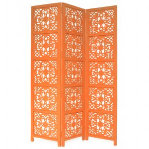 Dahlia 3 Panel Wood Screen, Orange