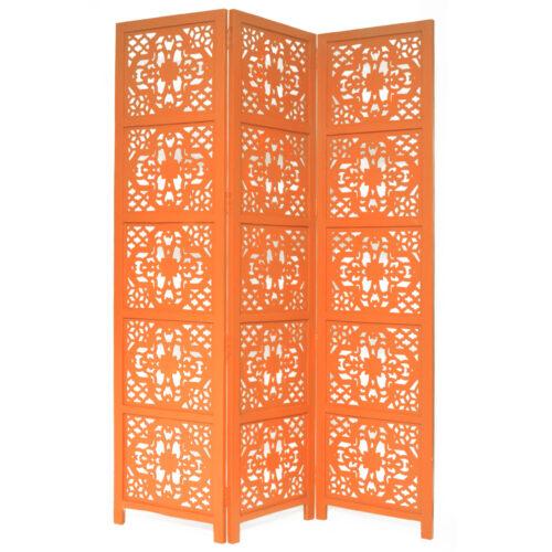 Dahlia 3 Panel Wood Screen, Orange