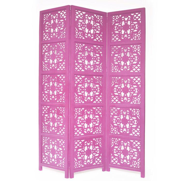 Dahlia 3 Panel Wood Screen, Pink