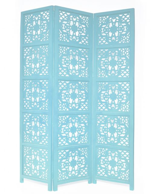 Dahlia 3 Panel Wood Screen, Turquoise