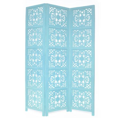 Dahlia 3 Panel Wood Screen, Turquoise