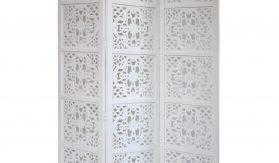 Dahlia 3 Panel Wood Screen, White