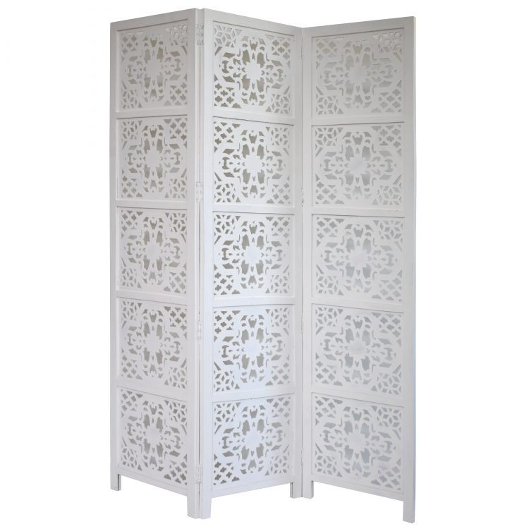Dahlia 3 Panel Wood Screen, White