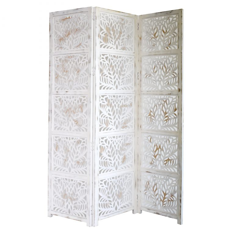 Fern 3 Panel Wood Screen, Antique White