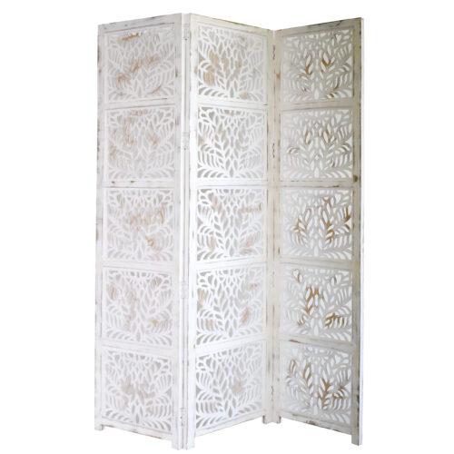 Fern 3 Panel Wood Screen, Antique White