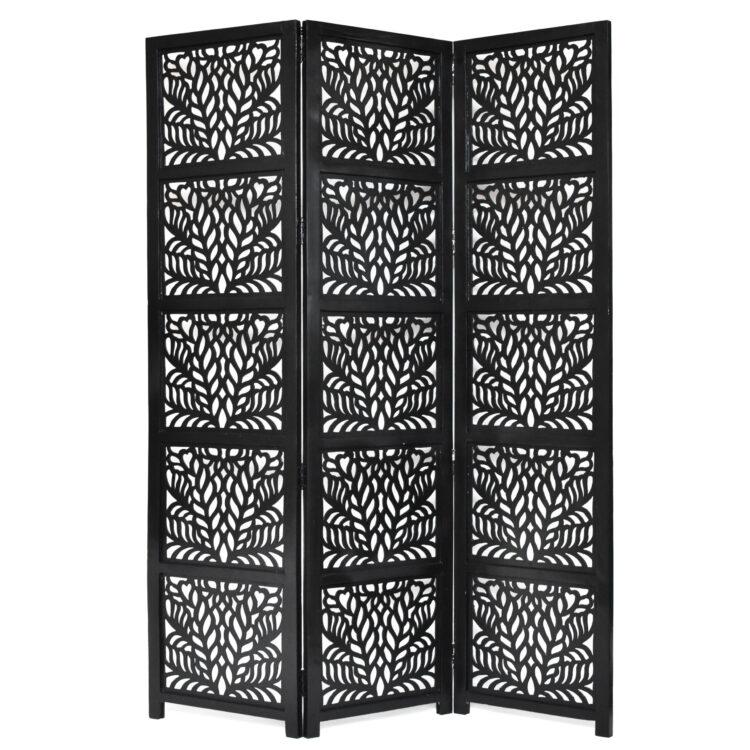 Fern 3 Panel Wood Screen, Black