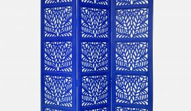 Fern 3 Panel Wood Screen, Blue