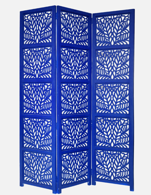 Fern 3 Panel Wood Screen, Blue