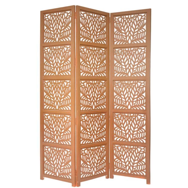 Fern 3 Panel Wood Screen, Brown