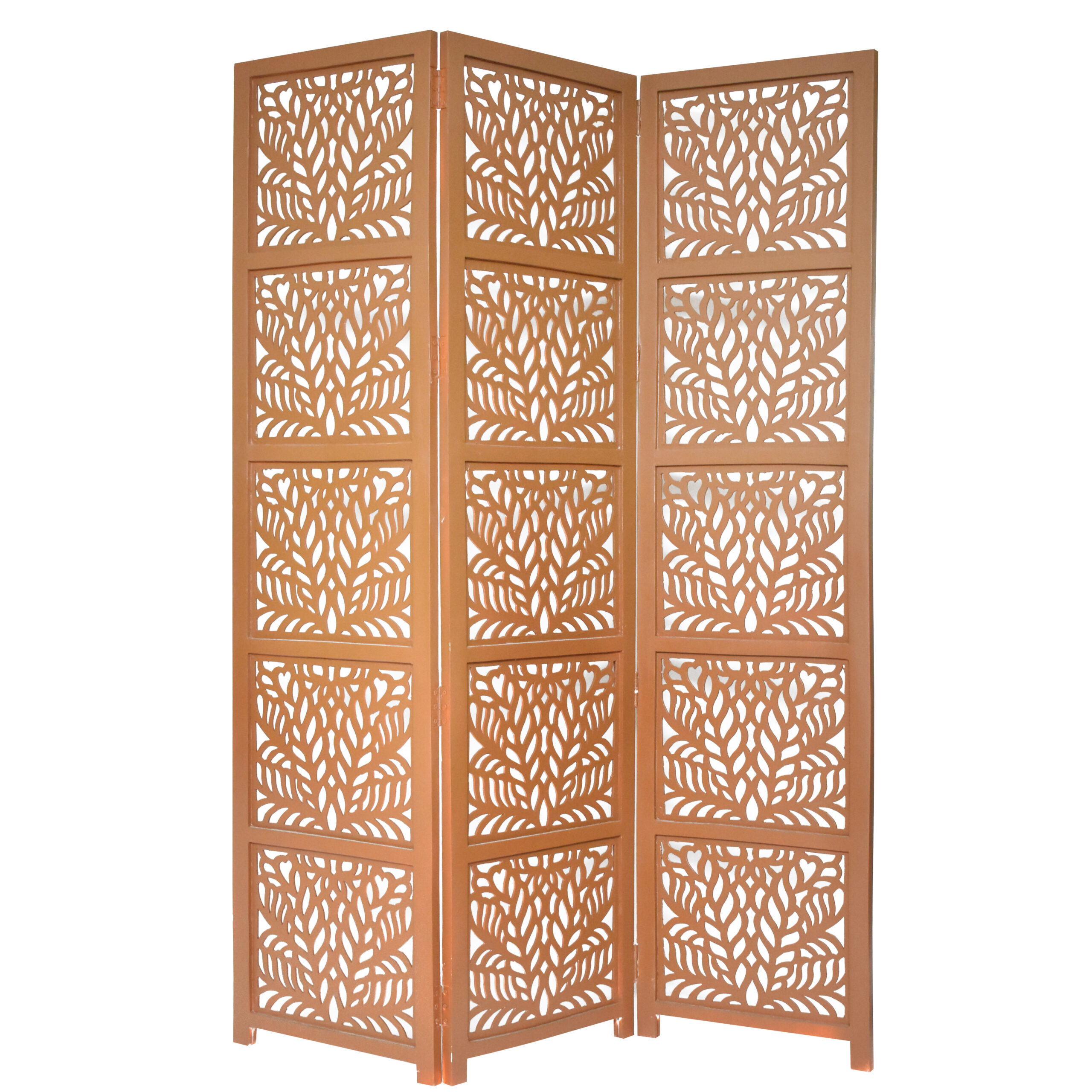 Fern 3 Panel Wood Screen, Brown