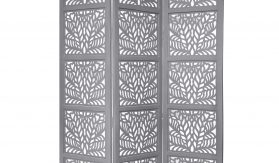 Fern 3 Panel Wood Screen, Grey