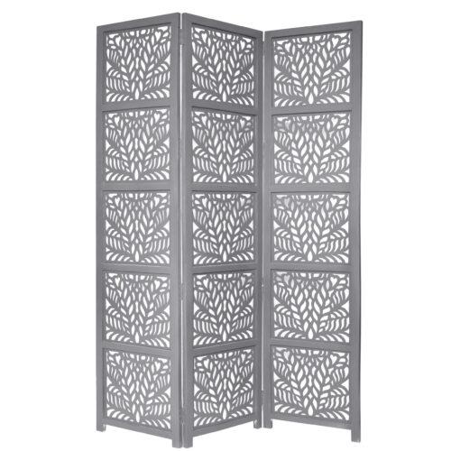 Fern 3 Panel Wood Screen, Grey
