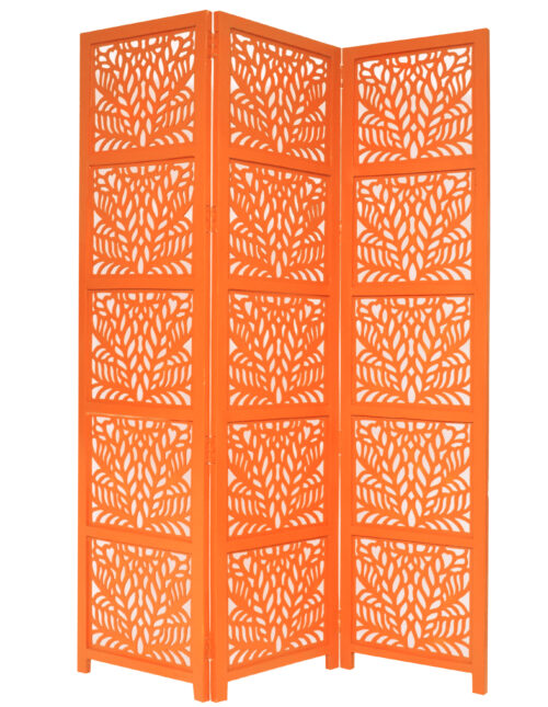 Fern 3 Panel Wood Screen, Orange