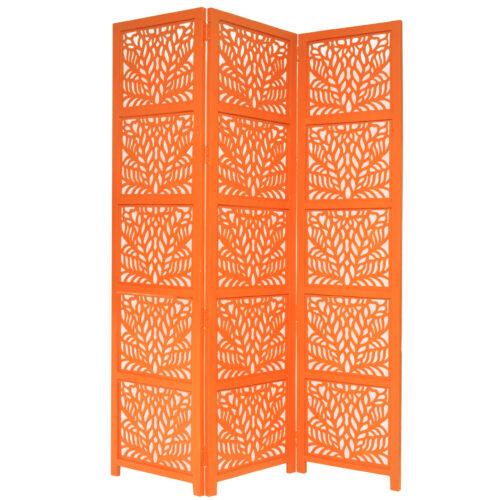 Fern 3 Panel Wood Screen, Orange