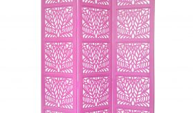 Fern 3 Panel Wood Screen, Pink