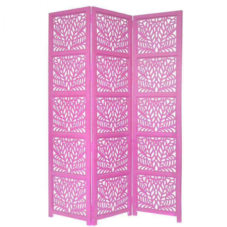 Fern 3 Panel Wood Screen, Pink