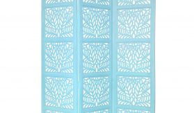 Fern 3 Panel Wood Screen, Turquoise