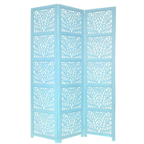 Fern 3 Panel Wood Screen, Turquoise