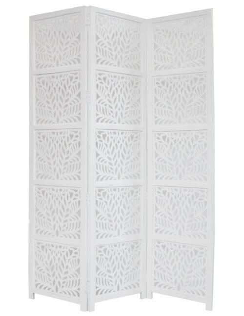 Fern 3 Panel Wood Screen, White