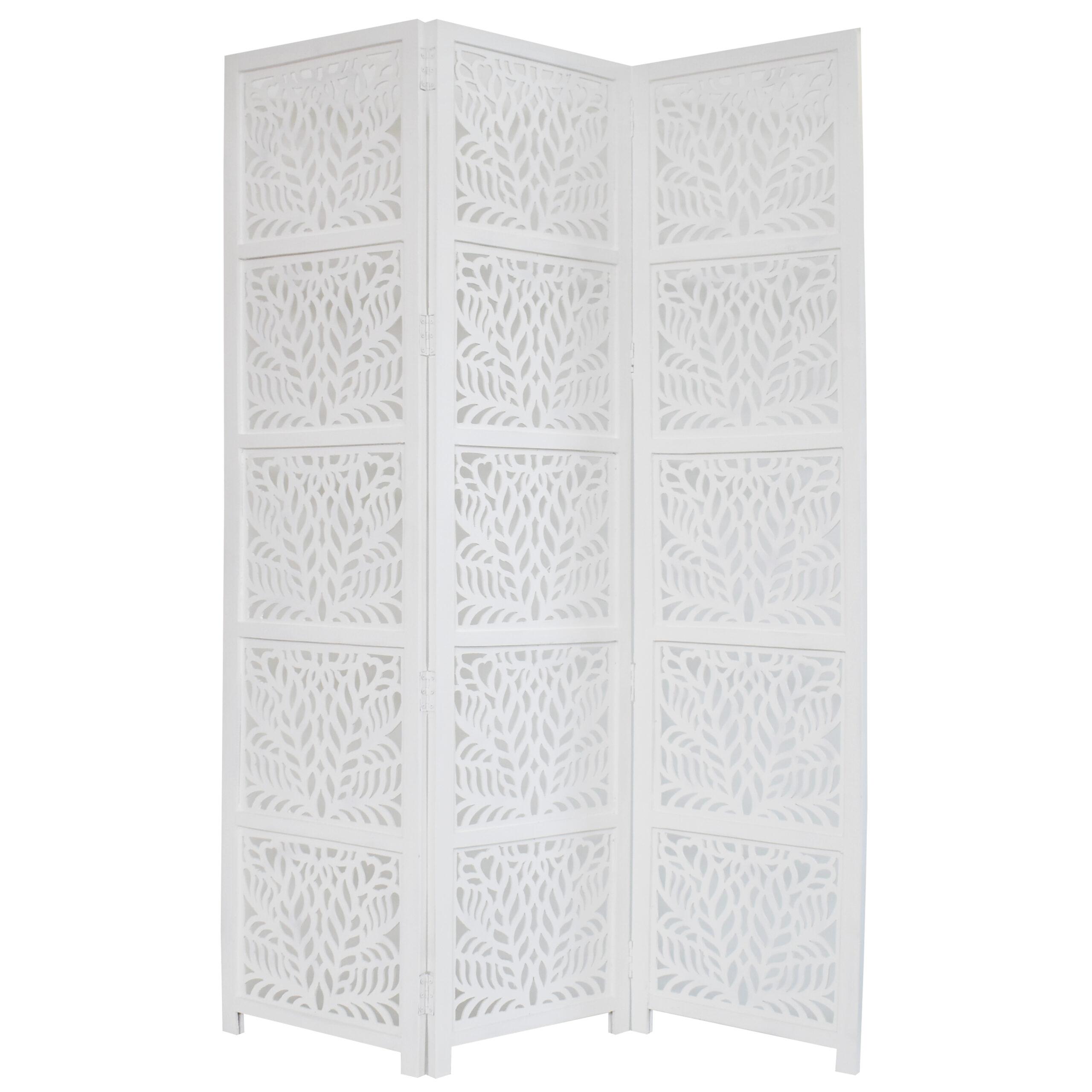 Fern 3 Panel Wood Screen, White