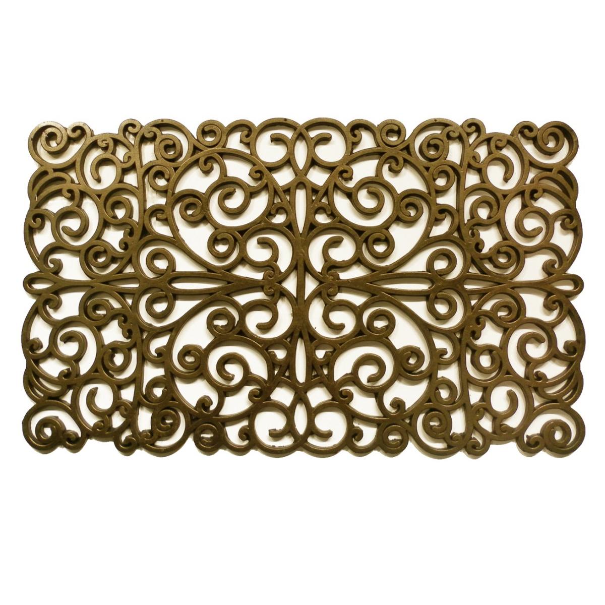 "Gold Scroll Rubber Doormat 18"" x 30"""