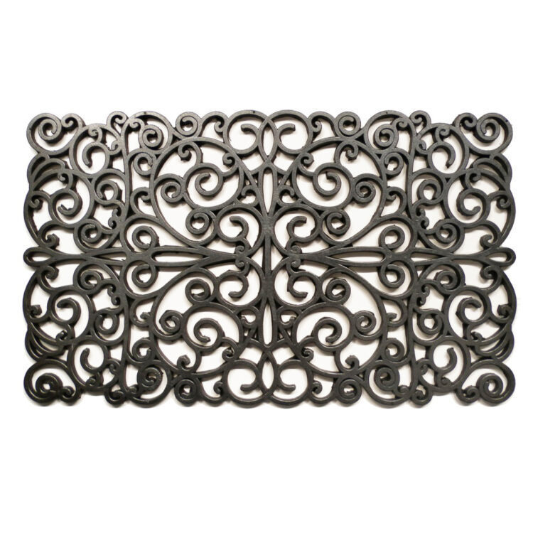 "Silver Scroll Rubber Doormat 18"" x 30"""